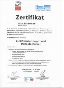 Zertifikat für Hagel- und Dellentechniker - Dirk Butzmann- Die Fahrzeug-Ambulanz- Beulendoktor Kassel