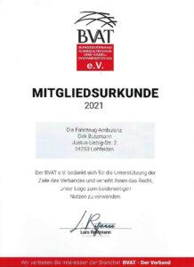 BVAT-Mitgliederurkunde- Die Fahrzeug-Ambulanz- Beulendoktor in Kassel