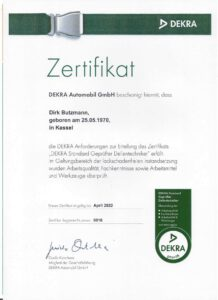 DEKRA Standard Geprüfter Dellentechniker- Dirk Butzmann vo der Fahrzeug-Ambulanz Kassel- Beulendoktor Kassel