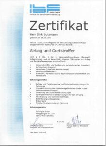 Zertifikat für Schulung-Airbag & Gurtstraffer-Direk Butzmann-Die Fahrzeug-Ambulanz- Beulendoktor Kassel